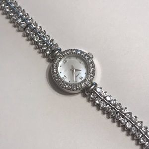 Accessories - Sterling Silver 925 Rhinestone Band Quartz Watch
